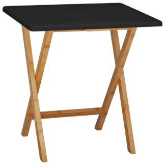 An Image of Habitat Drew Folding Bamboo 2 Seater Table - Black