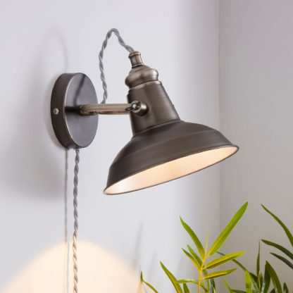 An Image of Lucas Industrial Easy Fit Plug In Wall Light Pewter Grey