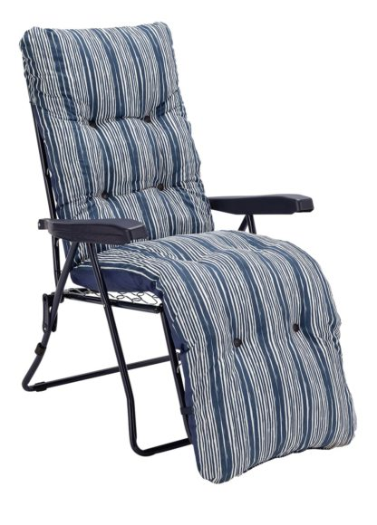 An Image of Argos Home Metal Folding Relaxer Chair - Coastal Stripe