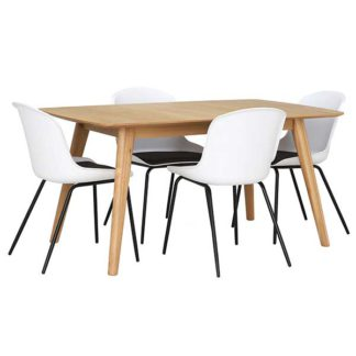 An Image of Lund Extending Dining Table and 4 White Leon Chairs