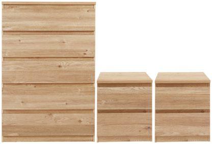 An Image of Habitat Jenson 2 Bedside & 5 Drawer Chest Set -Oak Effect