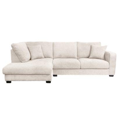 An Image of Carson Chunky Chenille Left Hand Corner Sofa Pebble