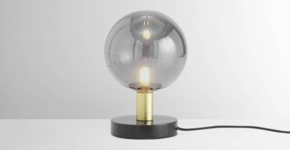 An Image of Boll Table Lamp, Black Marble, Brass & Smoked Glass