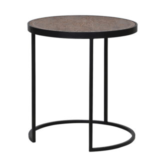 An Image of Etched Wood and Iron Side Table