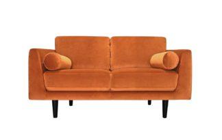 An Image of Habitat Jackson 2 Seater Velvet Sofa - Orange