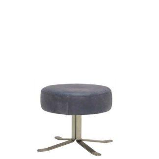 An Image of Fama Lenny Leather Swivel Footstool