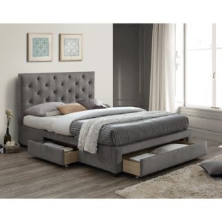 An Image of Monet Grey Fabric Bed Frame Grey