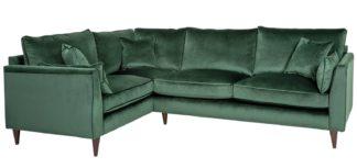 An Image of Habitat Hector Left Corner Velvet Sofa - Green