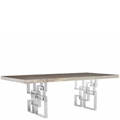 An Image of Windows Dining Table Glam Travertine