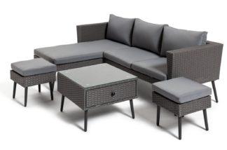 An Image of Habitat 5 Seater Rattan Corner Sofa Set - Grey
