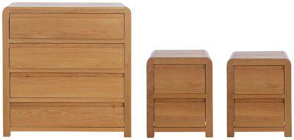 An Image of Habitat Novara 2 Bedside & 4 Drawer Set -Oak & Oak Veneer