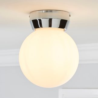 An Image of Harlow 1 Light Frosted Glass Flush Ceiling Fitting White