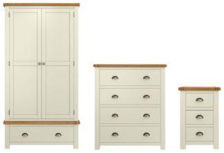 An Image of Habitat Kent 3 Piece 2 Door Wardrobe Set - Cream & Oak