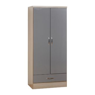 An Image of Nevada 2 Door 1 Drawer Grey Wardrobe Grey