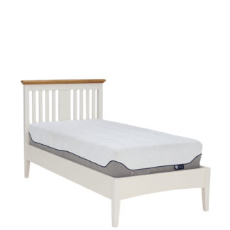 An Image of Carrington Single Bedframe Ivory and Oak