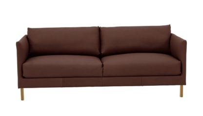 An Image of Habitat Hyde 3 Seater Leather Sofa - brown