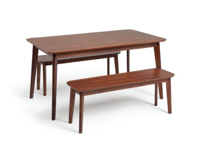 An Image of Habitat Skandi Walnut Veneer Dining Table & 2 Benches