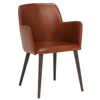 An Image of Edgar Leather Dining Chair Buffalo Light Brown
