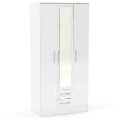 An Image of Lynx White 3 Door 2 Drawer Mirrored Wardrobe White