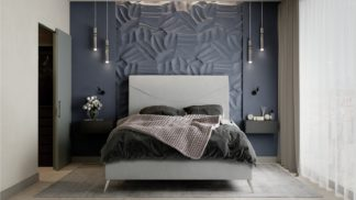 An Image of MiBed Seattle Fabric Double Bed Frame - Grey