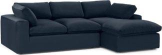 An Image of Samona Right Hand Facing Chaise End Sofa Sofa, Dark Blue Velvet