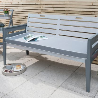 An Image of Florenity Grigio 3 Seater Cushioned Bench Grey