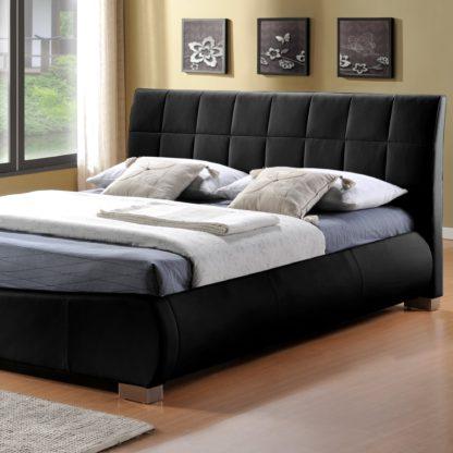 An Image of Dorado Black Faux Leather Bed Frame Black