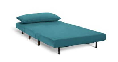 An Image of Habitat Roma Small Double Fabric Chairbed - Teal