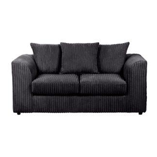 An Image of Blake Jumbo Cord 2 Seater Sofa Black