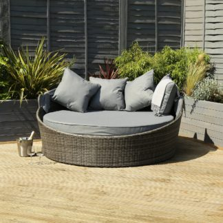 An Image of Rattan Grey Day Bed With Canopy Light Grey