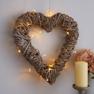 An Image of Natural Wicker Hanging Heart Light Natural