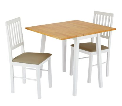 An Image of Argos Home Kendal Solid Wood Extending Table & 2 Chairs