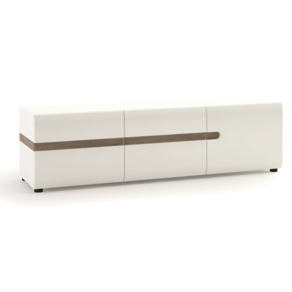 An Image of Exton 3 Door TV Unit - White Gloss