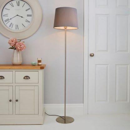 An Image of Tula Micro Pleat Grey Shade Floor Lamp Grey