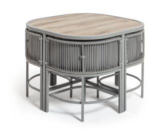 An Image of Habitat Nordic Spring Compact 4 Seater Patio Set - Grey