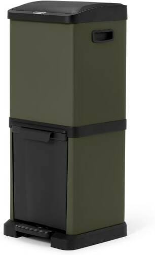 An Image of Kaja Double Recycling Bin, 34L, Forest Green