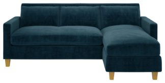 An Image of Habitat Chester 3 Seater Reversible Fabric Chaise Sofa Blue