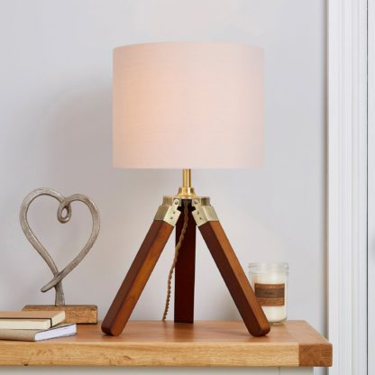 An Image of Trio Tripod Natural Table Lamp Brown