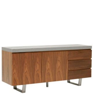 An Image of Halmstad Sideboard Concrete and Walnut