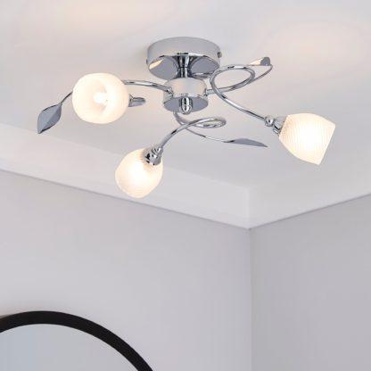 An Image of Swirl 3 Light Chrome Semi-Flush Ceiling Fitting Silver
