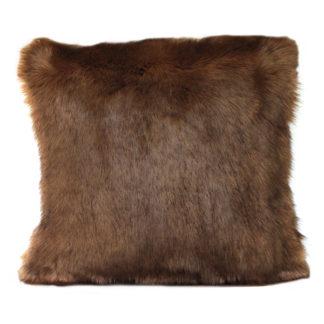 An Image of Faux Fur Cushion Camel