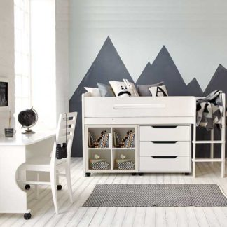 An Image of Kenzie Childrens Midsleeper with Desk Chest Of Drawers And Storage Bo