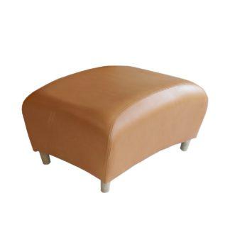 An Image of SCP Balzac Footstool Utah Russet Leather Natural Fibre Filling