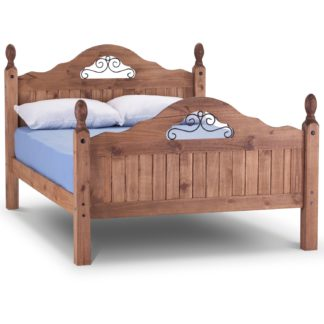 An Image of Corona Scroll Bed Frame Brown