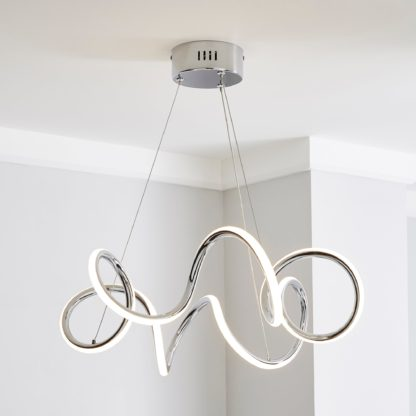 An Image of Skylar Curly LED Ceiling Fitting Chrome