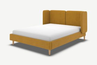 An Image of Ricola King Size Bed, Dijon Yellow Cotton Velvet with Oak Legs