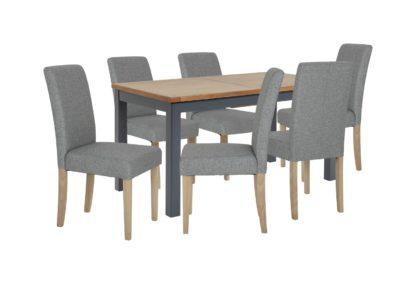 An Image of Habitat Kent Wood Veneer Dining Table & 6 Grey Chairs