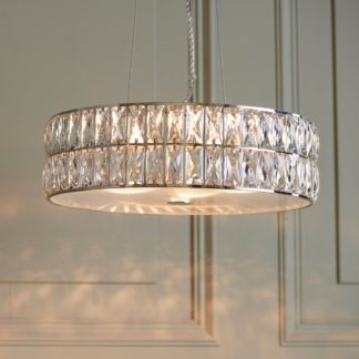 An Image of Crystal Armoury Integrated LED Pendant Fitting 48cm Chrome
