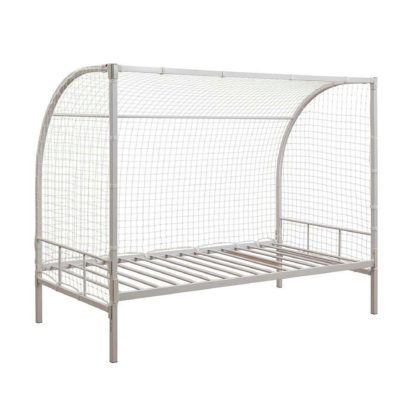 An Image of Soccer Metal Bed Frame White