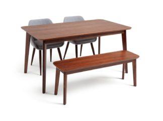 An Image of Habitat Skandi Walnut Veneer Table, 2 Grey Chairs & Bench